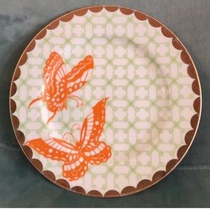 RARE Anthropologie Gold & Green Butterfly Plate